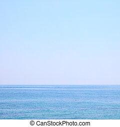 Sea horizon and clear light blue sky