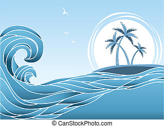 Sea horizon with tropical island and palms. Waves background