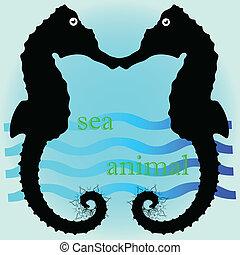 sea horse cartoon art vector illustration