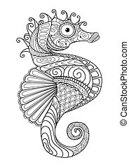 Sea horse coloring page - Sea horse line art design for...