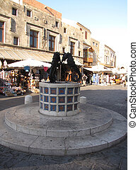 sea horse fountain in the old town of Rhodes