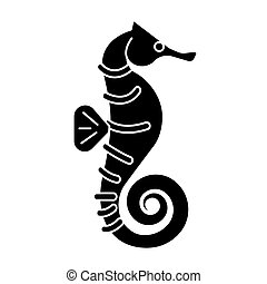 sea horse icon, vector illustration, black sign on isolated background