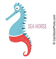 Sea horse in pants childish book cartoon character