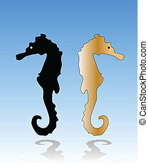 sea horse on the blue gradient background vector