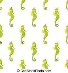 Sea horse seamless pattern