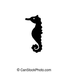 Sea Horse Silhouette, Underwater Animal. Flat Vector Icon illustration. Simple black symbol on white background. Sea Horse Silhouette, Marine Animal sign design template for web and mobile UI element.