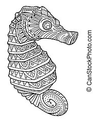 sea horse style for coloring page - Hand drawn sea horse...