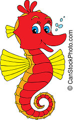 Vector clip-art of a red and yellow seahorse smiling