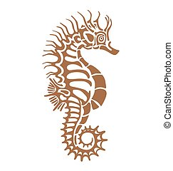 sea Horse - seahorse, made in one color under the stencil...