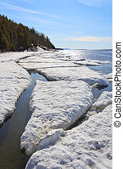 Sea ice broken in the spring, the White Sea, Russia