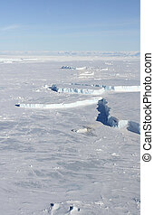 Sea ice on Antarctica - Aerial view of the sea ice in the...