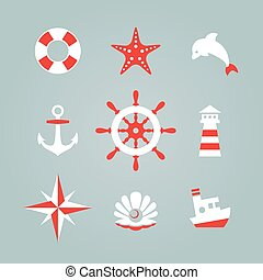 Sea icon collection isolated on a blue background