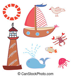 Sea icons funny set cartoons