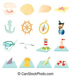 Sea Icons set, cartoon style