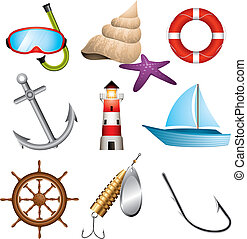 Sea icons - Set of 9 sea related vector icons