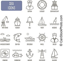 Sea icons. Set of vector pictogram