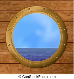 Sea in a ship window - Vector, sea in a bronze ship window -...