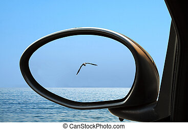 Sea in the rearviewmirror