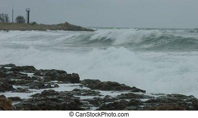 Sea in the storm, coastline