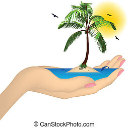 Sea ??island with palm in a female hand. Vector