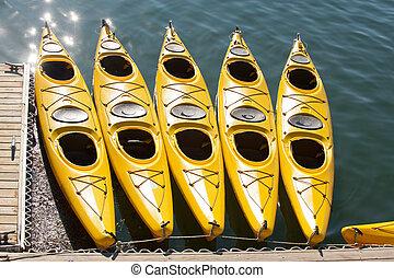 Sea kayaking - Yellow sea kayaks in Bar Harbor, Maine