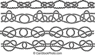 Sea knot decoration seamless pattern set