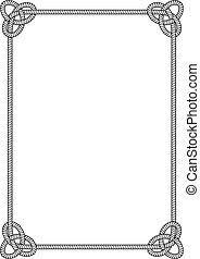 sea knot frame - frame of rectangular sea rope with sea ...