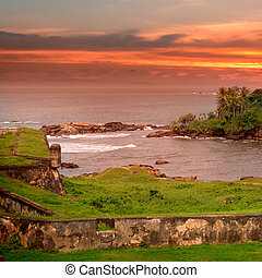 Sea lagoon, a scenic peninsula and the sunset view from the fortress of Galle Sri Lanka