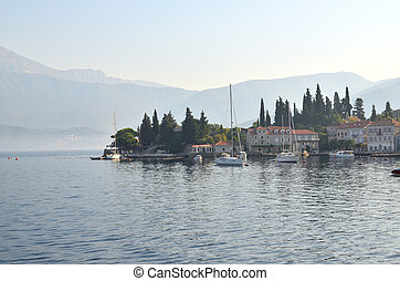 Sea, land and coastal village