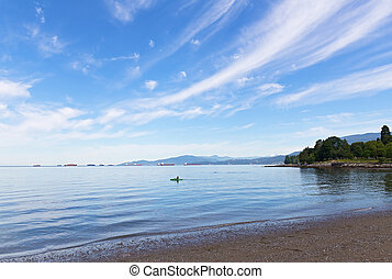 Sea landscape at the city beach in Vancouver, Canada.