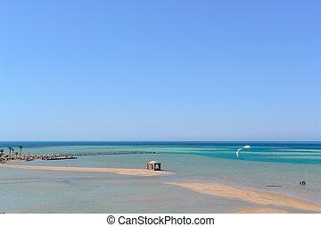 Sea landscape beach blue sea ebb photo