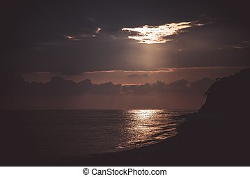 Evening landscape at the sea