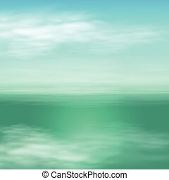 Sea landscape in sunny day. Blue background.