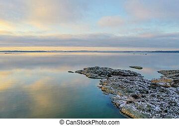 Sea landscape in winter drone photo
