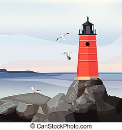 Sea landscape lighthouse. Ocean or sea water with night navigation safety building on rocks vector cartoon background