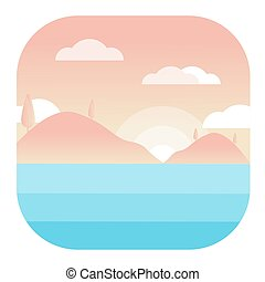 Sea Landscape Modern Conceptual Design Illustration Vector