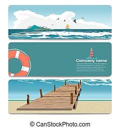 Sea landscape summer beach, old wooden pier, island, lighthouse, life preserver. Sale discount gift card. Branding design for travel agency