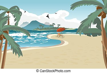Sea landscape summer beach, palms, sun umbrellas, beach...