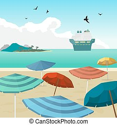 Sea landscape summer beach parasols, umbrellas, cruise ship. Beach of the sea umbrellas and a cruise liner in the distance in summer vacation. Background on beach. Vector flat illustration