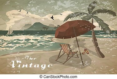 Sea landscape summer beach, sun umbrellas, beach beds. Umbrellas and deskchair on a beach in summer evening vacation. Evening summer background on beach vintage faded style. Vector flat illustration