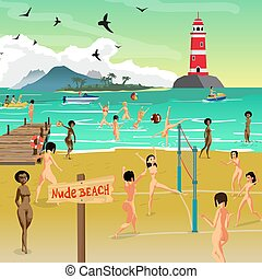Sea landscape summer with nude beach. Young naked women sunbathing on the sand and play volleyball. Vector flat cartoon illustration