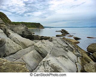 Sea landscape with rocky shore. Japan sea