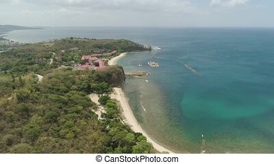 Sea landscape with beach. Philippines, Luzon - Aerial view...