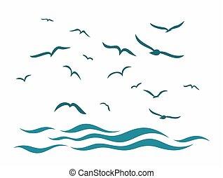 Sea landscape with birds.