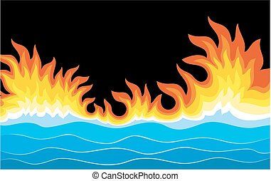 Sea landscape with fire.