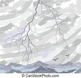 Sea landscape with lightning.
