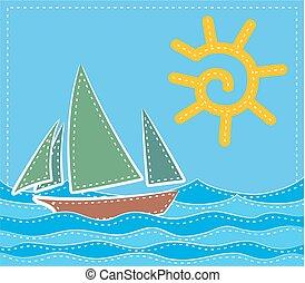 Sea landscape with sailing vessel.