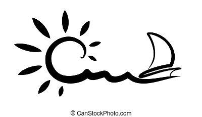 A sun dawn logo in the sea with a sailing vessel.