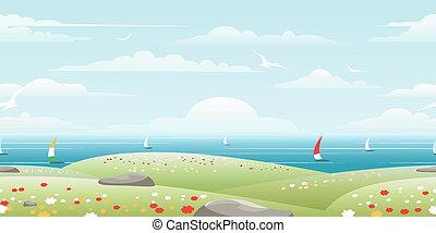 Sea landscape with sails