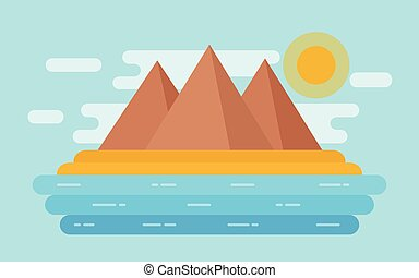 Sea landscape with sand beach, mountains. Vector flat illustration.